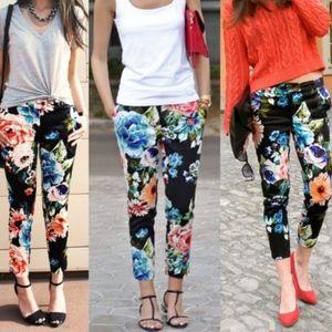 H&M Floral Cropped Pants 10*Fits Size 8 Best
